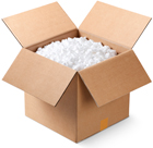 Open box of styrofoam peanuts